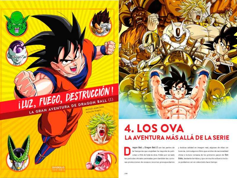 Portada y página de '¡Luz, fuego, destrucción ¡ La gran aventura de Dragon Ball (I)'