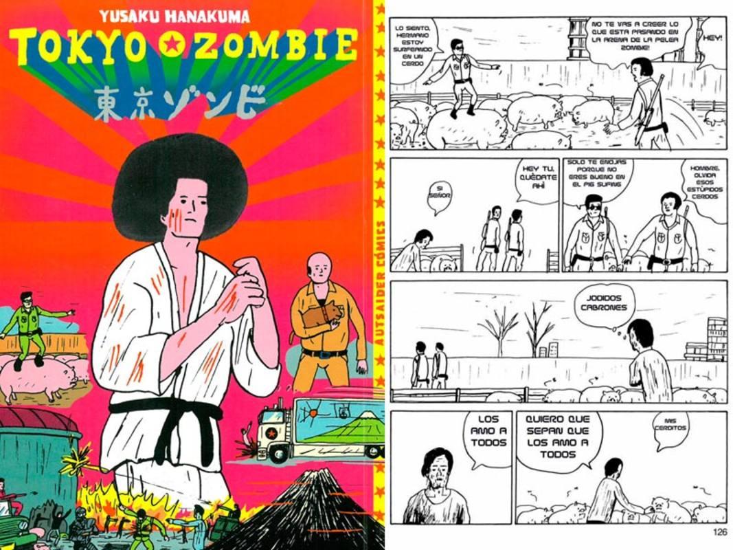 Portada y página de 'Tokyo Zombie'