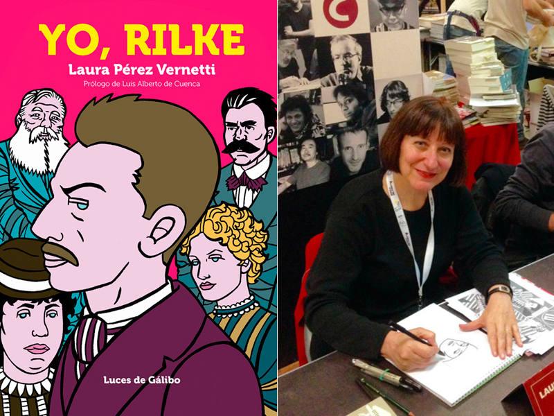 Portada de 'Yo, Rilke' y su autora, Laura Pérz Vernetti