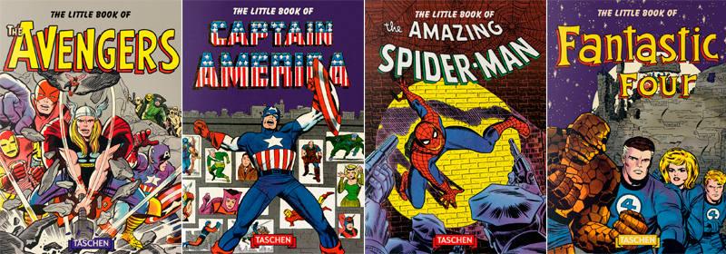Portadas de los 'The litte books' dedicados a Spider-Man, Fantastic Four, Captain America y The Avengers