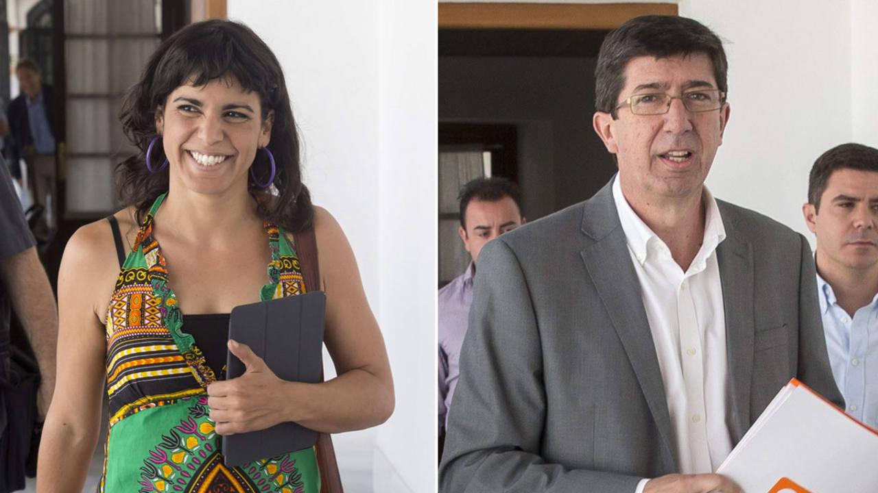 Los portavoces de Podemos y C's, Teresa Rodríguez y Juan Marín