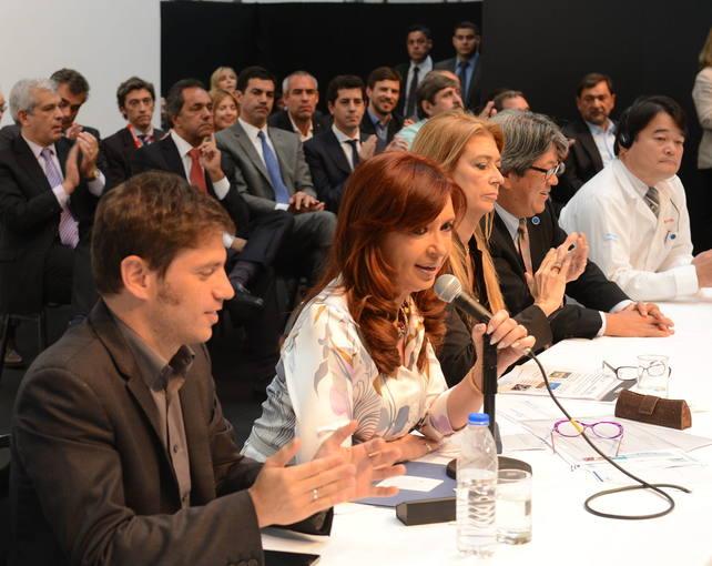La presidenta de Argentina, Cristina Fernández, durante el acto inaugural en la fábrica de Honda en la localidad bonaerense de Campana