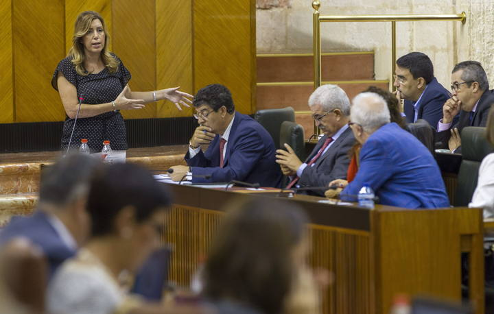 La presidenta de la Junta de Andalucía, Susana Díaz, en la sesión de control al gobierno en el Parlamento andaluz.