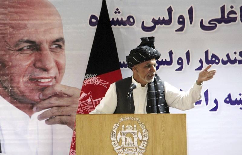 El presidente afgano, Ashraf Ghani, en un acto en Kandahar