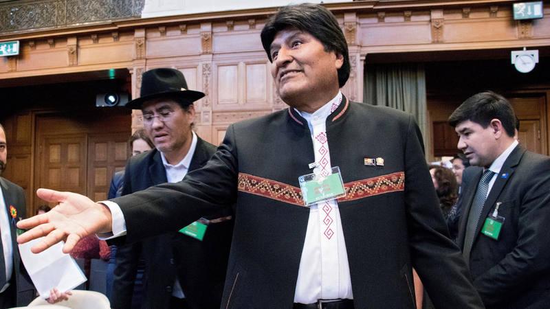 El presidente de Bolivia Evo Morales este lunes en la sede de la Corte Internacional de Justicia