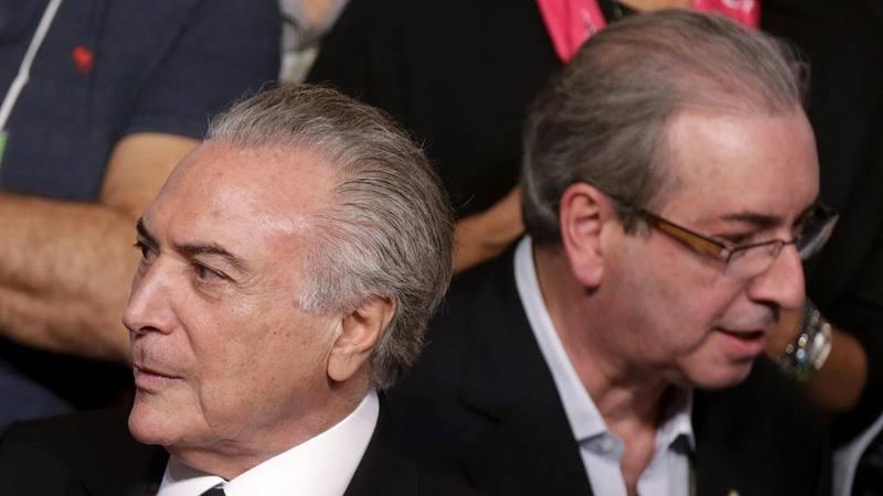 El presidente de Brasil, Michel Temer, junto al exjefe de la Cámara de Diputados, Eduardo Cunha