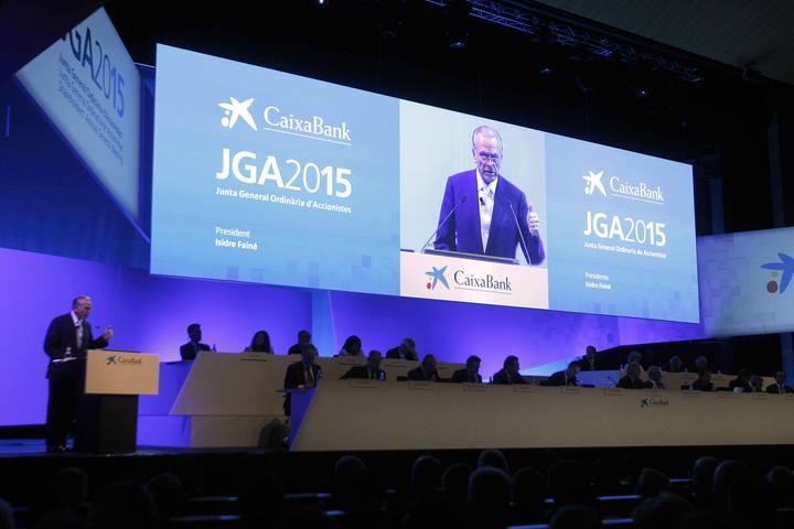 El presidente de CaixaBank, Isidre Fainé, durante la presentación de resultados del primer trimestre