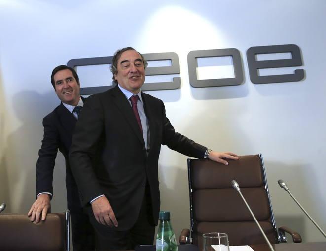 El presidente de la CEOE, Juan Rosell, y el presidente de Cepyme, Antonio Garamendi