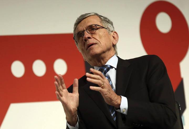 El presidente de la Comisión Federal de Comunicaciones de Estados Unidos, Tom Wheeler, durante su intervención en el Congreso Mundial de Móviles.