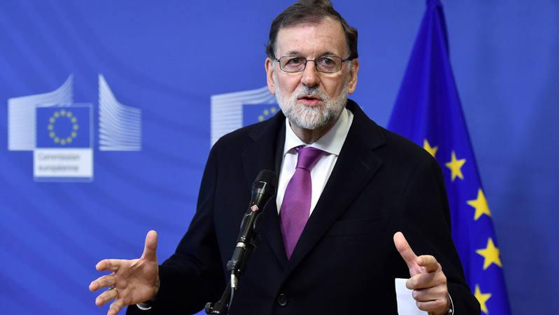 El presidente del Gobierno, Mariano Rajoy, durante una rueda de prensa en la conferencia sobre el Sahel que se celebra en Bruselas