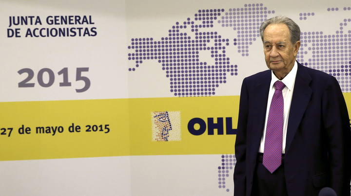 El presidente del Grupo OHL, Juan Miguel Villar Mir, antes de la junta de accionistas