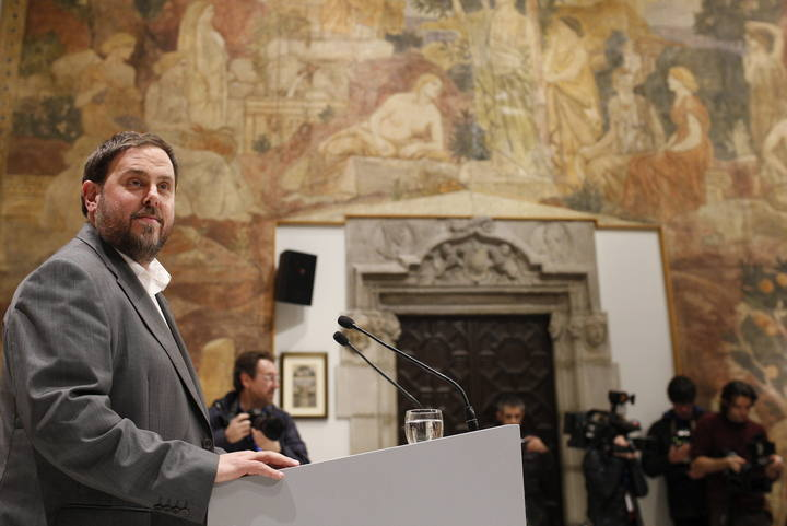El presidente de ERC, Oriol Junqueras, durante la comparecencia que ha celebrado en el Palau de la Generalitat.
