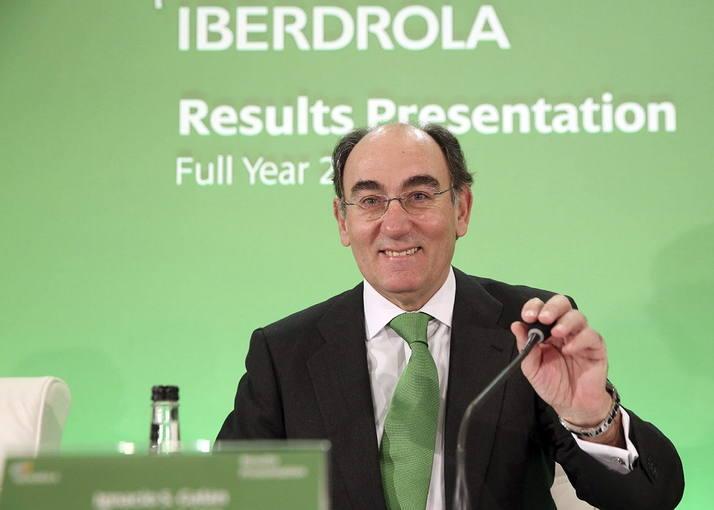 El presidente de Iberdrola, Ignacio Sánchez Galán, durante la conferencia con analistas para presentar los resultados del 2014