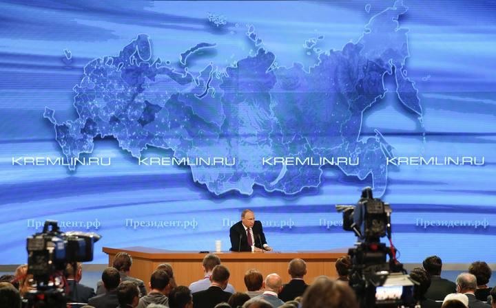 El presidente ruso, Vladímir Putin, en su rueda de prensa anual en Moscú.