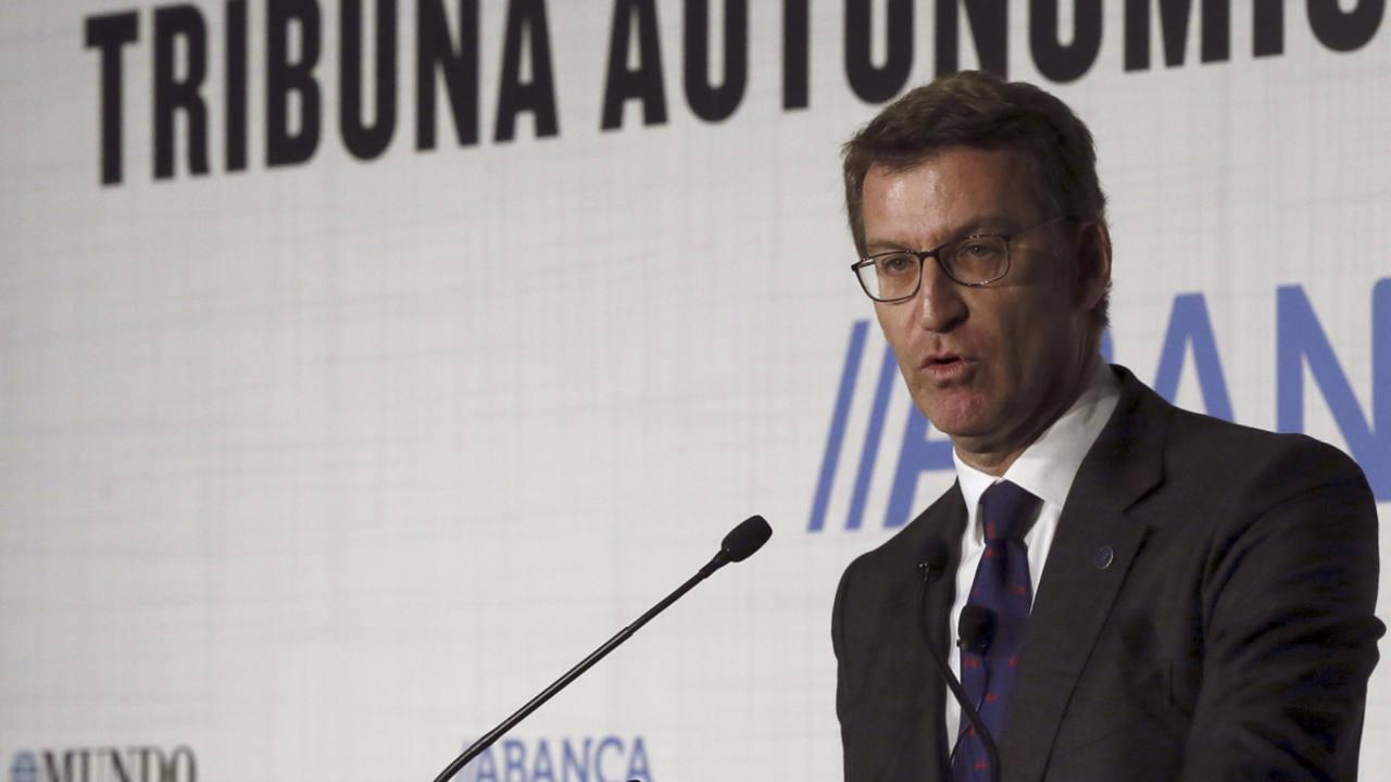 El presidente de la Xunta de Galicia, Alberto Núnez Feijóo, durante su intervención en un debate organizado por el diario El Mundo