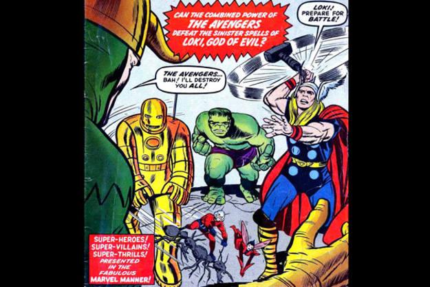 En su primer número Thor, Iron Man, Hulk, el Hombre Hormiga y la Avista se unían para combatir a Loki. Julio de 1963. Fragmento de la portada
