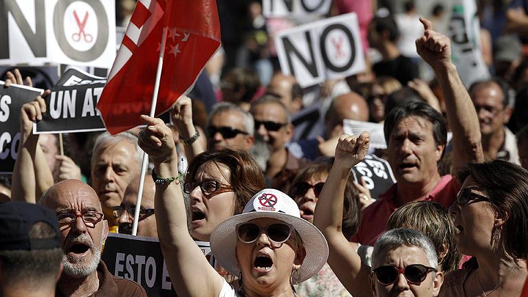Protesta de los funcionarios en la Puerta del Sol