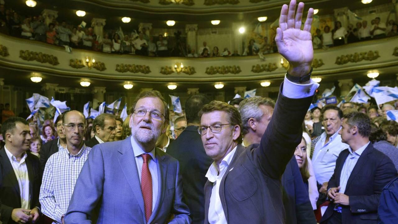 Rajoy y Feijóo, en un acto de campaña en Galicia.