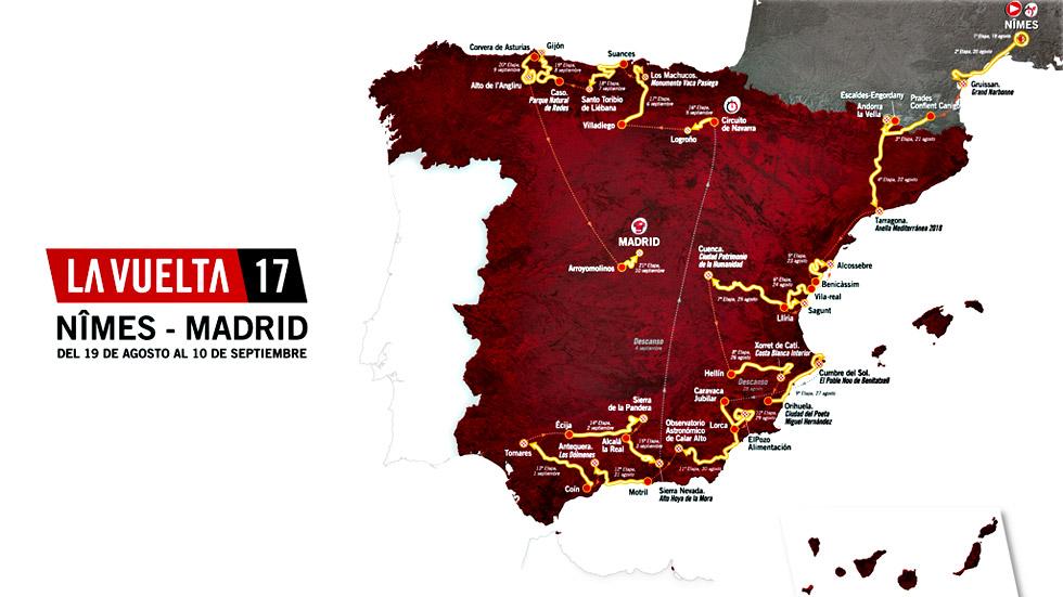 Recorrido oficial de la Vuelta ciclista a España 2017