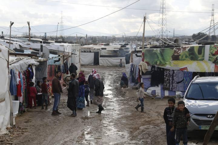 Refugiados sirios en el campo de Zahle, en Líbano