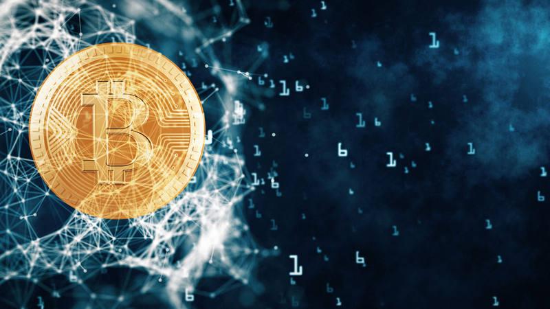 Representación simbólica del concepto de bitcoin