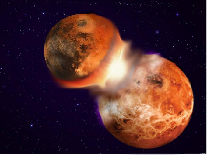 Reproducción de una colisión entre dos cuerpos planetarios.