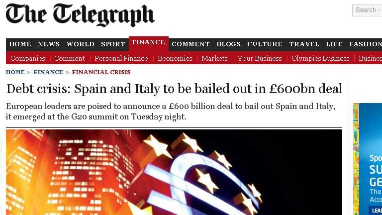 """El """"rescate"""" del Telegraph a España e It"""