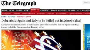 """El """"rescate"""" del Telegraph a España e Italia acapara la atención internacional"""