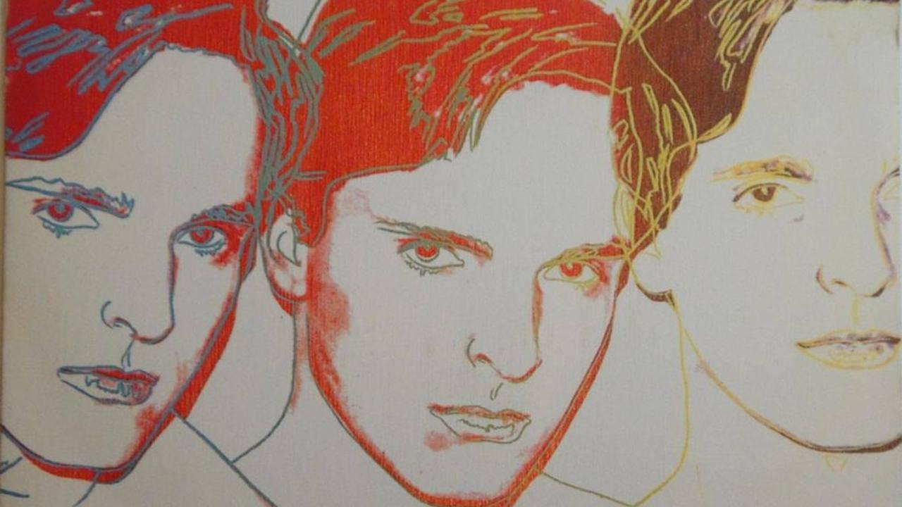 Retrato de Miguel Bosé pintado por Andy Warhol para la portada del disco 'Fuego'.