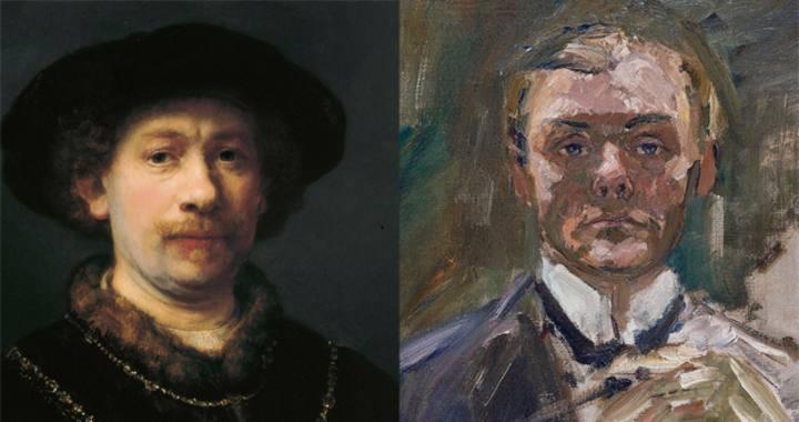 Retratos enfrentados de Rembrandt (1642) y Beckmann (1908)