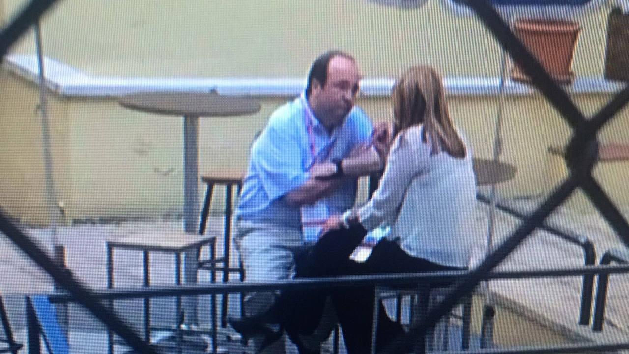 Miquel Iceta y Susana Díaz hablan en el patio de la sede del PSOE en Ferraz