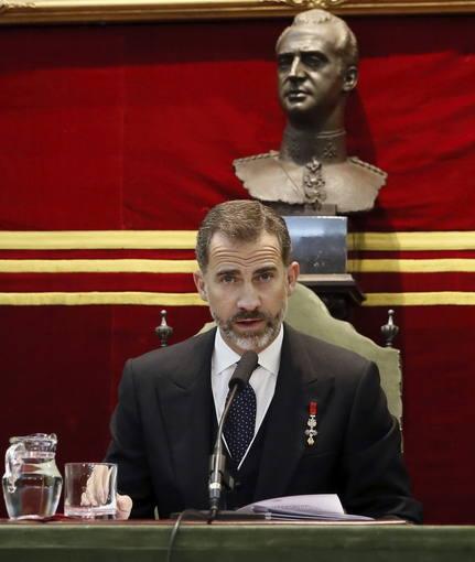 El rey Felipe durante la apertura solemne del curso de las ocho Reales Academias