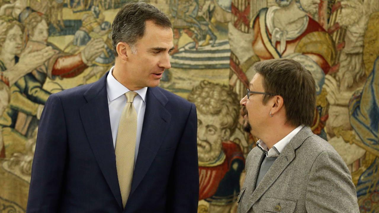 El rey recibe en el Palacio de la Zarzuela al portavoz de En Comú Podem, Xavier Domenèch