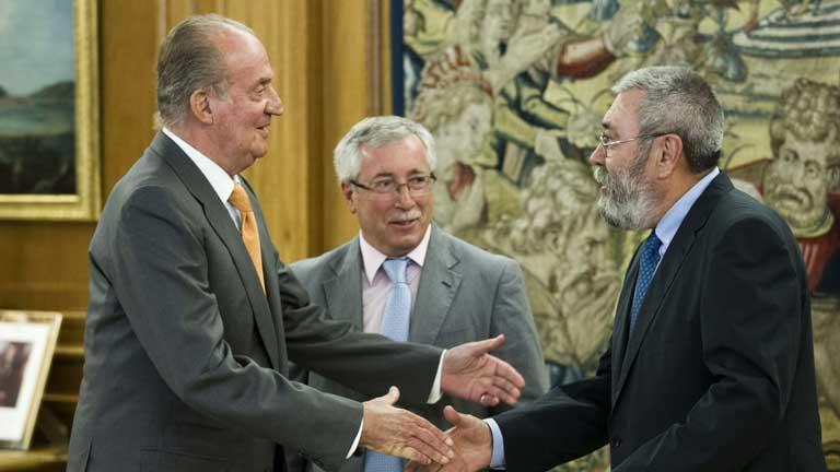 El rey se ha reunido con los líderes de UGT y Comisiones Obreras