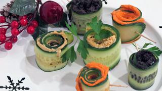 Menú vegetariano: Rollitos de pepino con patés vegetales