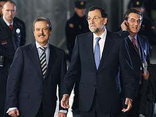 Rajoy y Rubalcaba salen del Palacio de Congresos de Madrid