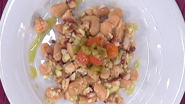 judiones templados con pulpo en salsa albahaca 03 10 2011
