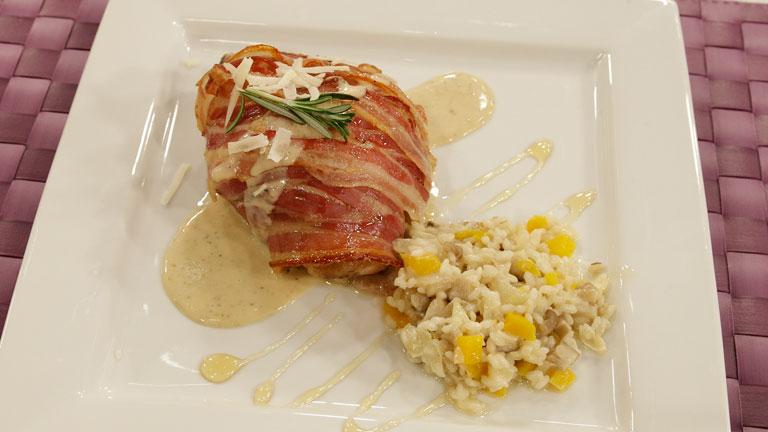 Receta de pollo asado con risotto de setas y calabaza for Como cocinar risotto de setas