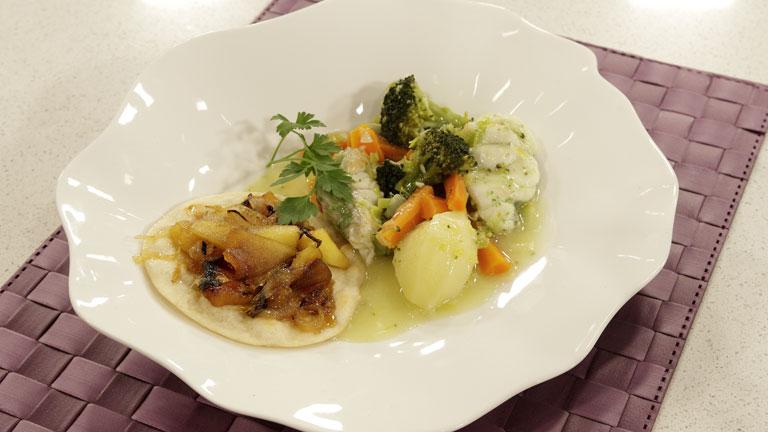 Receta de rape estofado con menestra de verduras - Hacer menestra de verduras ...
