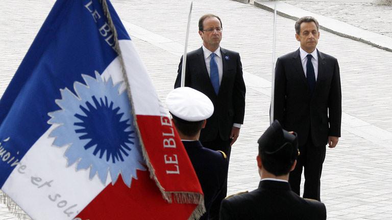 Sarkozy y Hollande, juntos en el homenaje a los caídos en la II Guerra Mundial