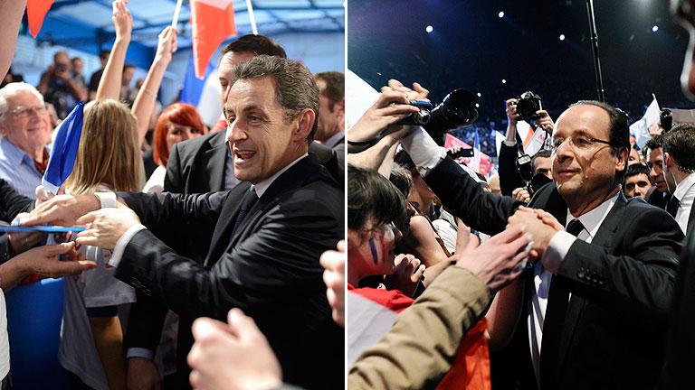 Sarkozy y Hollande 'venden' sus diferentes ideas de Europa en la recta final de la campaña