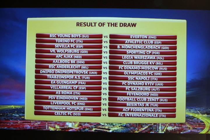A screen shows the results of the draw for the Europa League round of 32 soccer matches at the UEFA headquarters in Nyon