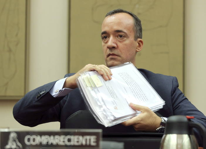 El secretario de Estado de Seguridad, Francisco Martínez, antes de comparecer en la comisión de Interior del Congreso.
