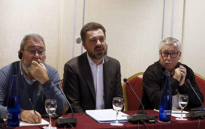 El secretario general de UGT, Cándido Méndez, y el secretario general de CC.OO., Ignacio Fernández Toxo, durante la Conferencia Sindical Europea