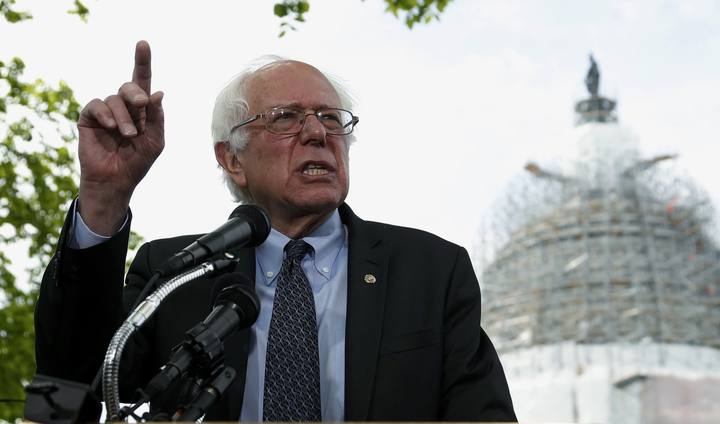 U.S. Senator Sanders holds news conference after announcing his candidacy for the 2016 Democratic presidential nomination, on Capitol Hill in Washington