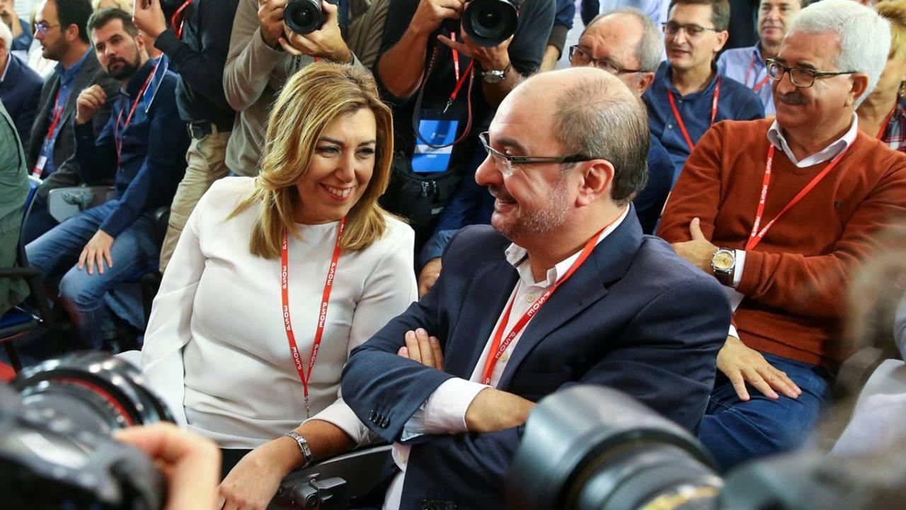 Susana Díaz y Javier Lambán en el Comité Federal del PSOE.