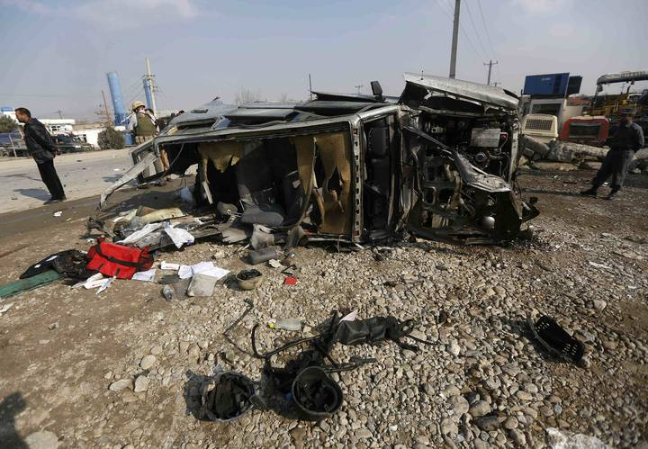 The wreckage of a British embassy vehicle after a suicide attack in Kabul