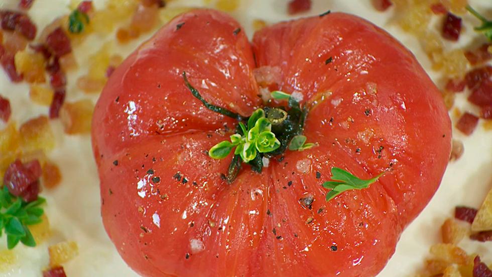 Torres en la cocina - Tomate asado con burrata