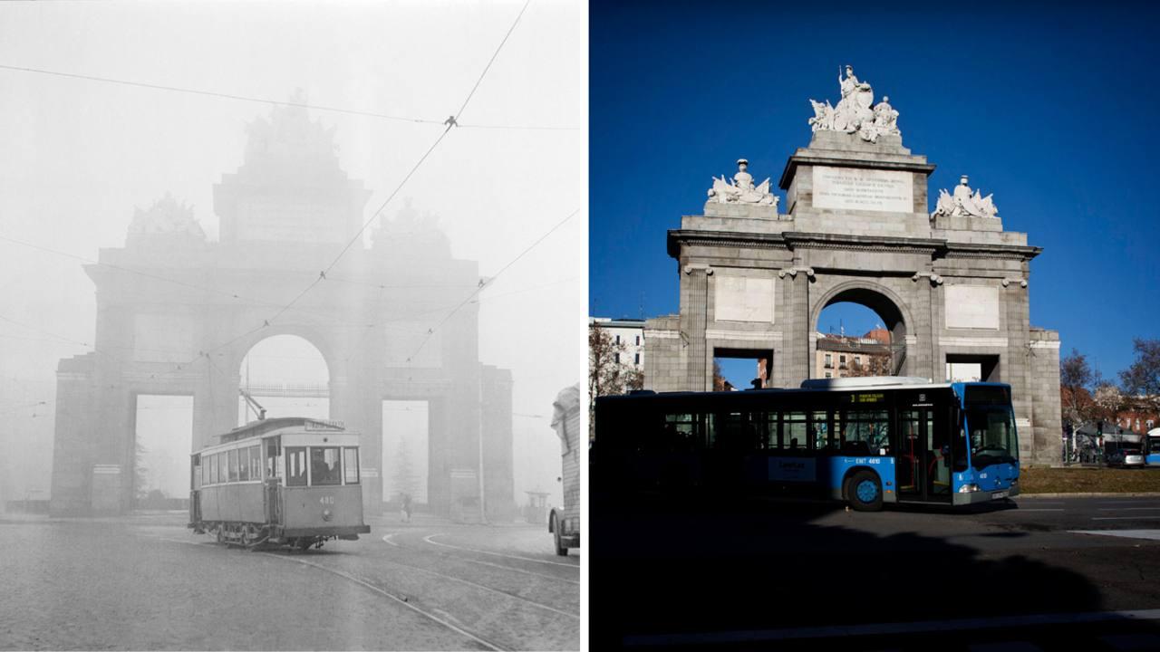 Tranvía que cubría la línea 32,Plaza Mayor-Legazpi en 1954 y foto actual de la misma zona (Madrid)