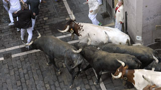 Último encierro de San Fermín 2015 con la ganadería de Miura